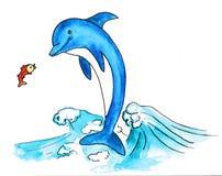 Дельфин и рыбы Стоковые Изображения