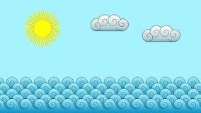 Дельфин на океане (шарж) иллюстрация вектора