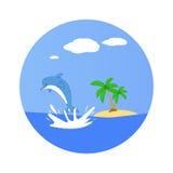 Дельфин скачет из воды Необжитый остров 3d освобождают валы неба перевода ладони острова бесплатная иллюстрация