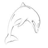 Дельфин Sketched скача Стоковая Фотография RF