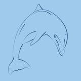 Дельфин Sketched скача Стоковые Изображения RF