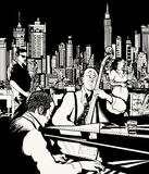 Джаз-бэнд играя в Нью-Йорке иллюстрация штока