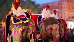 ДЖАЙПУР, ИНДИЯ - АПРЕЛЬ 2013: Традиционно покрашенные слоны сток-видео