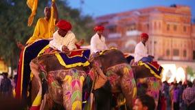 ДЖАЙПУР, ИНДИЯ - АПРЕЛЬ 2013: Традиционно покрашенные слоны видеоматериал