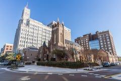 Джексон, MS/USA - около февраль 2016: Здание жизни Lamar и собор St Andrew епископский в городском Джексоне Стоковые Фото