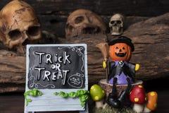 Джек-o-фонарик в костюме ведьмы сидя на дереве Стоковая Фотография