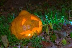 Джек-o-фонарик в саде Стоковые Изображения RF