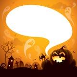 Джек-o-фонарик хеллоуина с пузырем речи иллюстрация штока