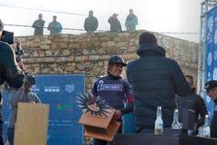 Джемми Митчел - победитель Nazaré Chalenge WSL 2016 стоковые фото