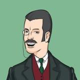 Джентльмен с усиками и monocle иллюстрация штока