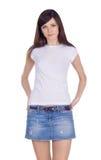 джинсовая ткань брюнет симпатичная Стоковое Изображение RF