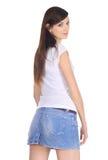джинсовая ткань брюнет симпатичная Стоковая Фотография RF