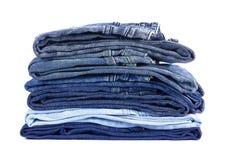 Джинсовая ткань джинсов на белой предпосылке Стоковая Фотография