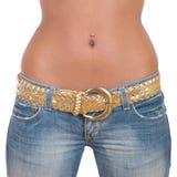 джинсыы девушки голубого крупного плана подходящие стоковые изображения