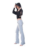 джинсыы девушки клуба над верхней белизной Стоковые Изображения RF