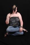 джинсыы девушки кофточки довольно Стоковая Фотография RF