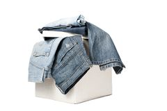 джинсыы коробки стоковое изображение