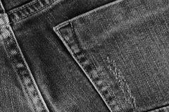 Джинсыы текстурируют с карманн Сильно детальный крупный план серой джинсовой ткани Стоковое Изображение RF