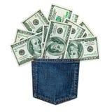 Джинсы карманн и деньги Стоковые Фотографии RF