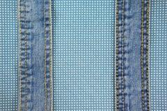 Джинсы с стежком на голубой ткани точки Стоковая Фотография RF