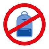 Джинсы укладывают рюкзак знак значка запрета на белой предпосылке иллюстрация штока