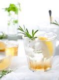 Джин, лимон, fizz розмаринового масла, коктеиль Стоковые Фото
