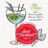 Джин с тоником коктеиля, рогулька питья для бара иллюстрация штока