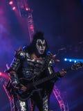 Джин Simmons, басист для поцелуя рок-группы Стоковое Изображение
