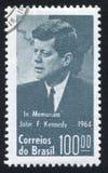 Джон Кеннеди напечатал Бразилией Стоковое фото RF
