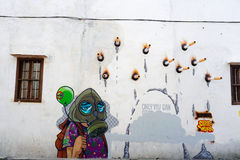 Джорджтаун, Малайзия - 7-ое сентября 2016: Искусство улицы о курить стоковая фотография rf