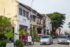 Джорджтаун, Penang/Малайзия - около октябрь 2015: Старые улицы и архитектура Джорджтауна, Penang, Малайзии стоковые изображения rf