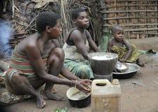 Джунгли АВТОМОБИЛЯ вышесказанного трибы республики в ноябре джунглей 2008 женщина 2-ой девушок baka Африки африканской центрально Стоковое фото RF