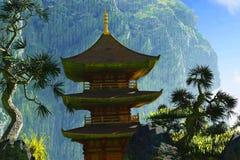 Дзэн буддийского виска Стоковые Изображения