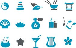 Дзэн иконы установленное Стоковые Изображения RF