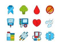 Диабетические медицинские символы Установленные инсулин, шприц и другие медицинские значки иллюстрация штока