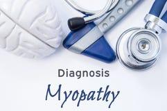 Диагноз Myopathy Анатомическая диаграмма мозга, неврологический молоток и стетоскоп лежа на листе бумаги или книге с названием Стоковые Фотографии RF