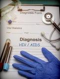 Диагностическая форма, ВИЧ/СПИД, пробирка проб крови и медицина в больнице стоковые фотографии rf