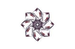 Диаграмма абстрактной агрессивной фрактали красная черная Стоковые Изображения RF