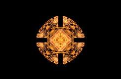 Диаграмма абстрактной фрактали золотая симметричная на черноте Стоковое Изображение RF