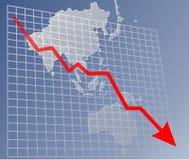 диаграмма Азии вниз Стоковое фото RF