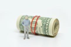 Диаграмма бизнесмена и одной долларовой банкноты Стоковые Изображения