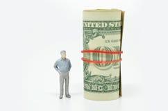 Диаграмма бизнесмена и одной долларовой банкноты Стоковая Фотография