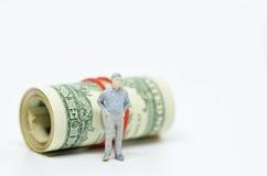 Диаграмма бизнесмена и одной долларовой банкноты Стоковая Фотография RF
