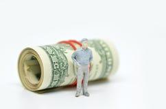 Диаграмма бизнесмена и одной долларовой банкноты Стоковые Фотографии RF