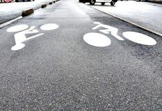 Диаграмма велосипедиста на пути велосипеда Стоковые Изображения RF
