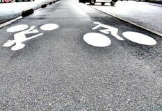 Диаграмма велосипедиста на пути велосипеда Стоковое Изображение