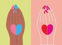 диаграмма вручает сердцу его Стоковые Изображения