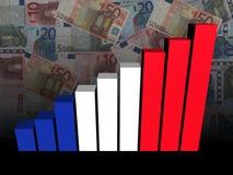 Диаграмма в виде вертикальных полос флага француза над иллюстрацией евро бесплатная иллюстрация