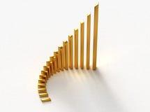 диаграмма в виде столбов золотистая Стоковое Фото