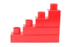 Диаграмма в виде вертикальных полос красных строительных блоков на белой предпосылке Стоковые Фотографии RF